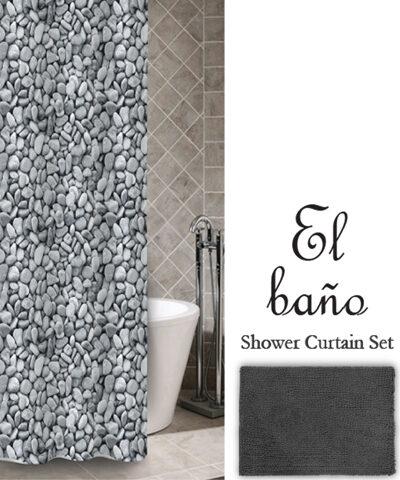 Σετ Κουρτίνα & Ταπέτο Μπάνιου El Bano